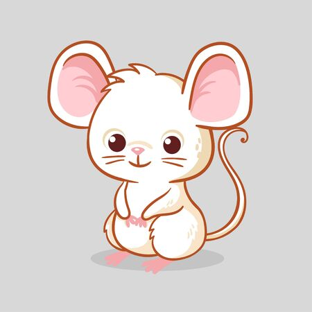 Cute little mouse is sitting on a gray background. Vector illustration with a little rodent in cartoon style.