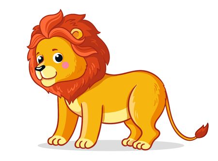 Cute young lion stands on a white background. Vector illustration with an african animal in cartoon style.
