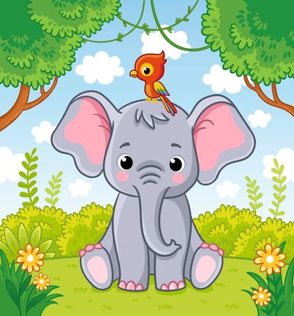 Little cute elephant sits in a clearing in the jungle with a parrot on his head. Vector illustration with animal on natures.
