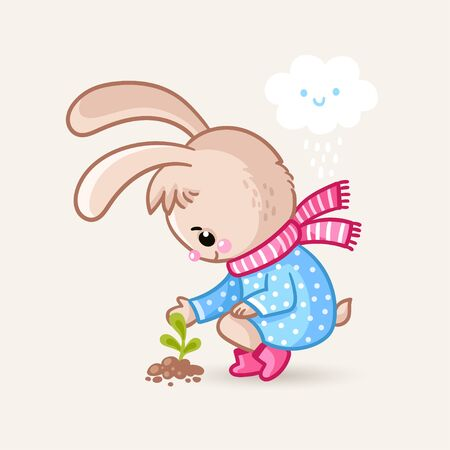 Cute little rabbit is looking at a plant that has just pecked out of the ground. Vector illustration with an animal.