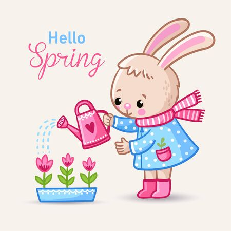 Little rabbit watering flowers in boots in spring. Vector illustration with cute animal in cartoon style. Banque d'images - 144629231