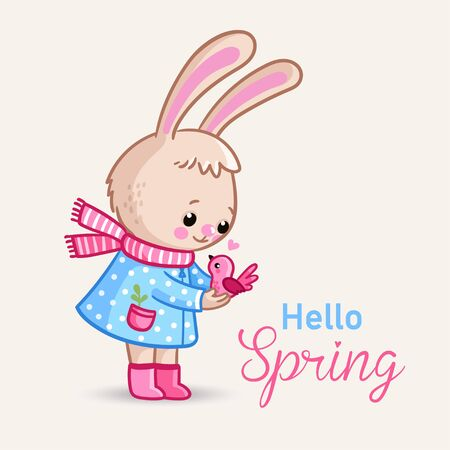 Little bunny holds a pink bird in her hands. Spring card with text and cute animal. Illustration