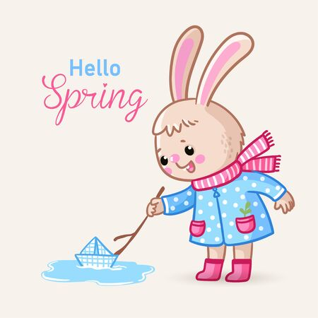 Cute greeting card with a bunny who launches a boat in a spring puddle. Vector illustration with animal in cartoon style.