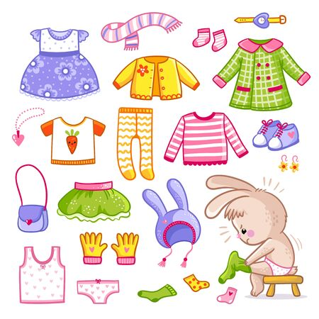 Vector set with clothes in cartoon style. Collection of things for the rabbit who dresses. Illustration with a hare. Banque d'images - 143403335