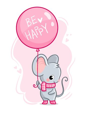 Cute mouse with a balloon and the inscription be happy. Vector illustration with a cute animal. Illustration