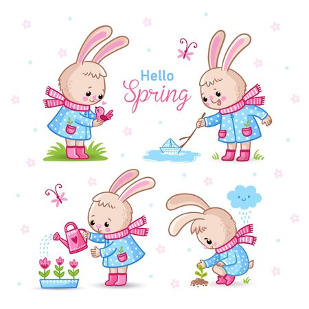 Vector set with cute rabbits on a spring theme. Illustration with animals in various poses. Collection of hares in cartoon style.
