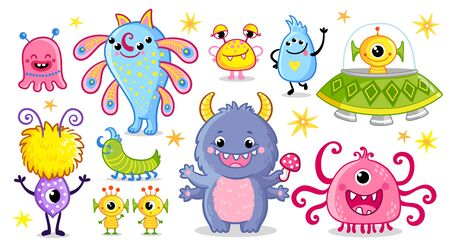Vector set with monsters in cartoon style. Creepy aliens. Collection with funny ugly creatures.