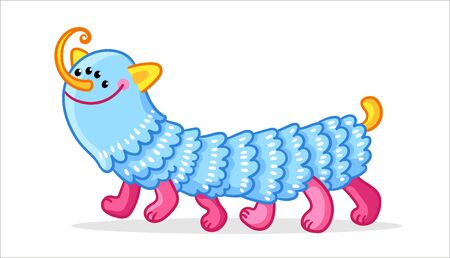 An alien similar to a caterpillar. Monster with four eyes in a cartoon style. Vector illustration with blue mutant.