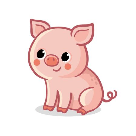 Cute pig sitting on a white background. Vector illustration with farm animal in cartoon style.