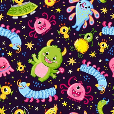 Funny pattern with aliens on a dark background. Vector seamless illustration with cute monsters in cartoon style.