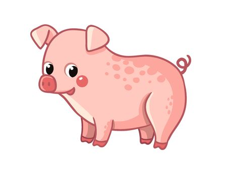 Cute pink pig stands on a white background. Vector illustration with farm animal in cartoon style.