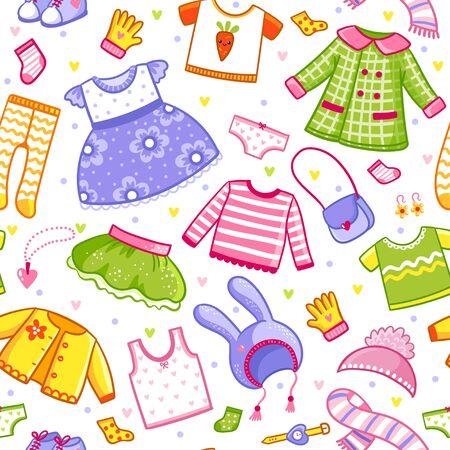 Vector seamless pattern with clothes in cartoon style. Vector big set with a collection of t-shirts, hats, dress, shoes and underwear for a girl and children. Banque d'images - 143676168