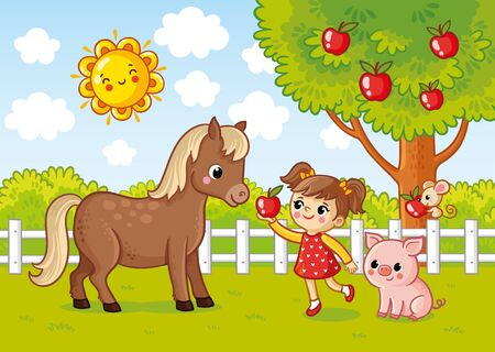 Vector illustration with a girl who gives a horse an apple. Cartoon style farm picture.