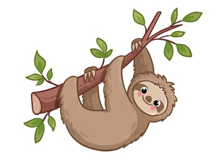 Cute sloth creeps on a tree. Vector illustration with animal in cartoon style. Illustration