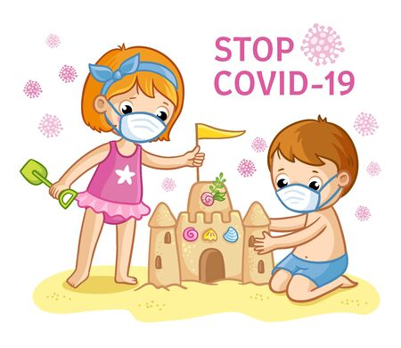 Vector illustration with children in protective masks on the beach and the inscription coronovirus. Cute children in play are building a sand castle against a background of viral particles. Illustration