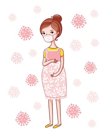 Vector illustration with a pregnant woman who wears a protective medical mask on the background of viral particles.