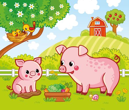 Vector illustration with pigs on a farm in cartoon style. Bright beautiful picture on the theme of agriculture with cute mom and baby. Banque d'images - 142475475
