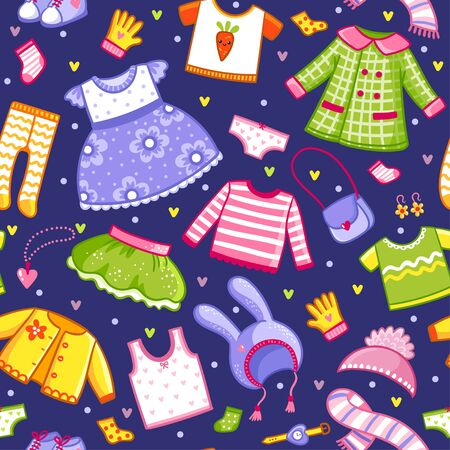 Vector pattern with a collection of t-shirts, hats, and underwear for animals and children. Big seamless set of clothes for a hare in cartoon style. Banque d'images - 143676128