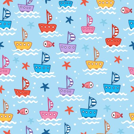 Seamless illustration with cute children s boats on a blue background with fish and waves in cartoon style. Vector pattern with starfish.