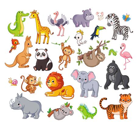 Big vector set with animals in cartoon style. Vector collection with mammals on a childrens theme.