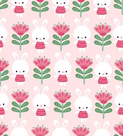 Vector seamless illustration with cute bunnies and flowers. Cute pattern with animal in cartoon style. Banque d'images - 143676130