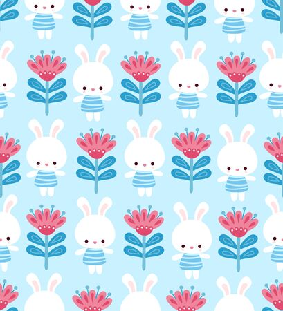 Cute floral pattern with a hare on a blue background. Vector seamless illustration with animal in a children's style. Illustration