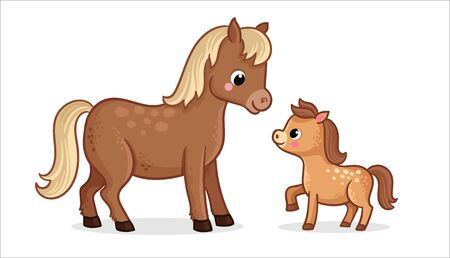 Cute horse with foal on a white background in cartoon style. Vector illustration with farm animals mom and baby. Banque d'images - 145610976