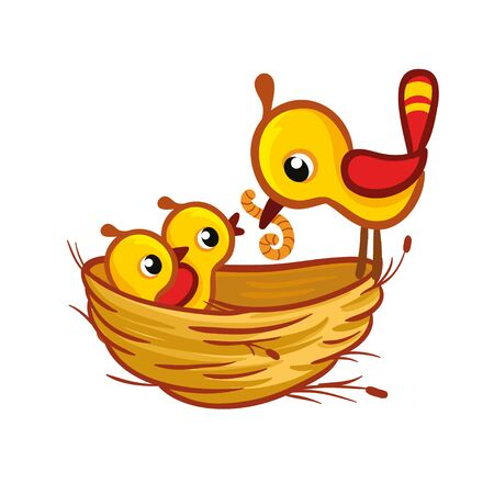 Vector illustration with a bird that brought the worm to the chicks in the nest. Cute birds in cartoon style.