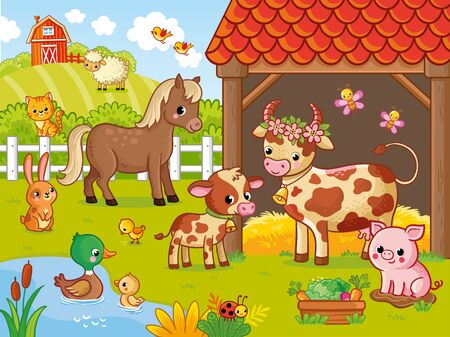 Farm with animals in cartoon style. Vector illustration with pets. Large set of animals and birds. Banque d'images - 145610357