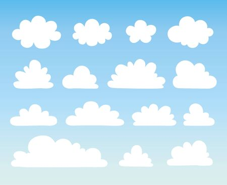 Vector illustration with a collection of white clouds on a blue background in cartoon style.