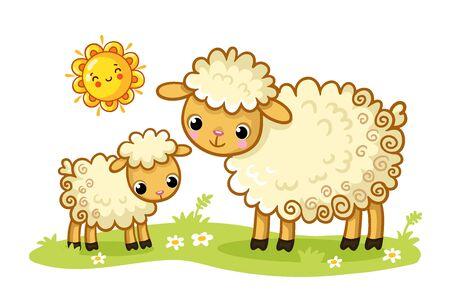 Una oveja y un cordero se paran en un prado verde y soleado. Ilustración de vector con animales lindos en estilo de dibujos animados. Ilustración de vector
