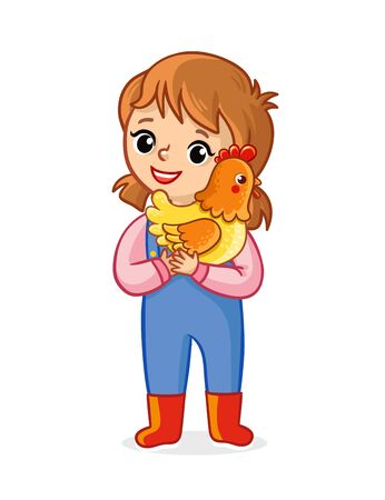 The farmer girl on a white background holds a chicken in her hands and smiles. Vector illustration with a child and a pet in cartoon style. Banque d'images - 145894791