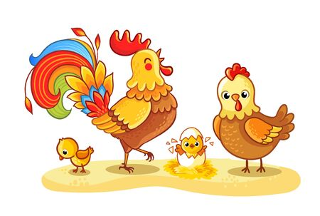 Rooster with chicken and chickens is walking in a clearing. Hatched chicken. Pets in cartoon style on a farm theme. Illustration