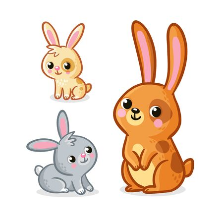 Vector illustration with collection of cute hares. Rabbits on a white background. Animals in cartoon style.