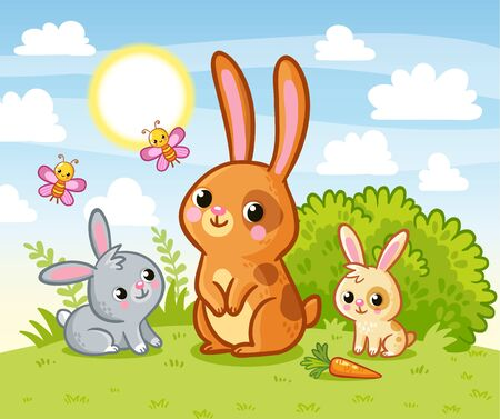 Rabbits are sitting in a green meadow. Hares eat summer marking on the grass. Vector illustration with cute animals in cartoon style.