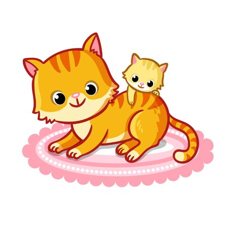 Cute cat with a kitten on a white background. Vector illustration with pets in cartoon style.