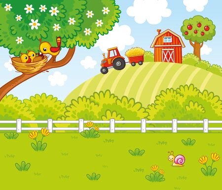 Cute illustration in cartoon style with a farm and tractor. Birds are sitting in a nest on a tree. Summer picture on an agricultural theme. Banque d'images - 147071670