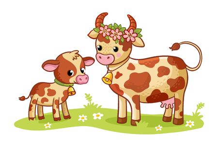 Cow with a calf is standing in a green meadow. Vector illustration in cartoon style on a farm theme. Children's illustration with mom and baby. Banque d'images - 146699840