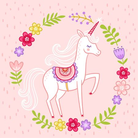 Greeting vector card with miles unicorn in cartoon with til on a pink background. Beautiful mythical animal in a floral frame. Banque d'images - 148978096