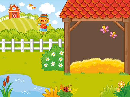 Farm in a cartoon style with a hayloft and pugolom which is behind the fence. Vector illustration in a cartoon style on an agricultural theme. Illustration