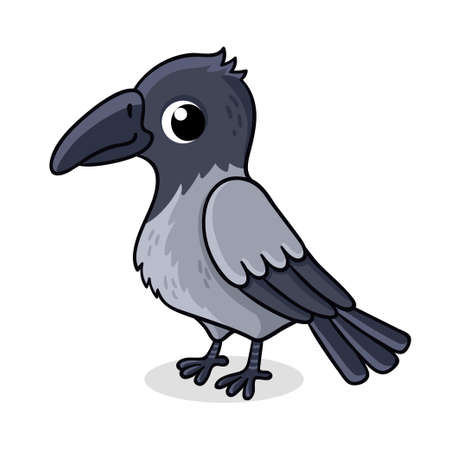 Lonely crow on a white background. Vector illustration with cute bird in cartoon style.