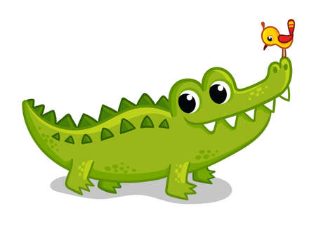Cute young green crocodile on a white background with a bird on the face. Vector illustration with animal in cartoon style.