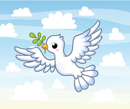 Cute white dove with a twig in its beak flies across the sky among the clouds. Vector illustration with a bird in cartoon style.