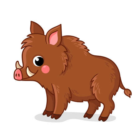 Small brown boar stands on a white background. Vector illustration with cute animals in cartoon style.