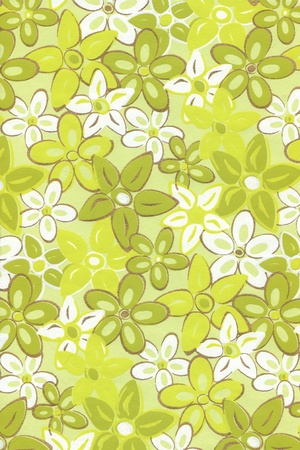 Bright summer illustration with green flowers. Stock Photo