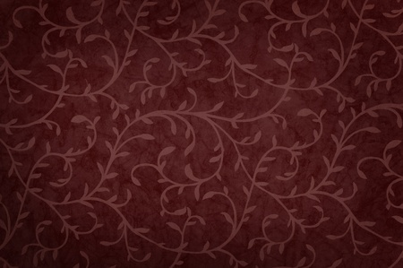 mixed wallpaper: Illustration with curly leaves pattern dark red color with shadow. Stock Photo