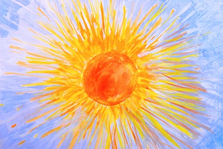 gouache: Drawing gouache by hand. The sun and the sky