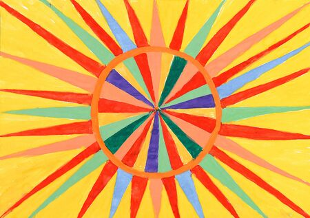 abstract ornamental pattern of the sun. watercolor on paper Stock Photo