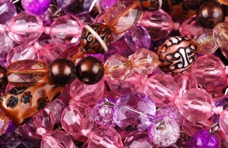 Background from various pink jewellery photo