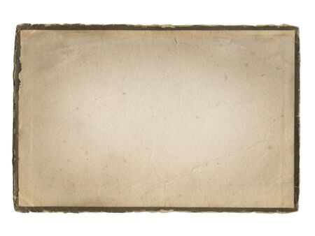 Aged paper with frame isolated on white.